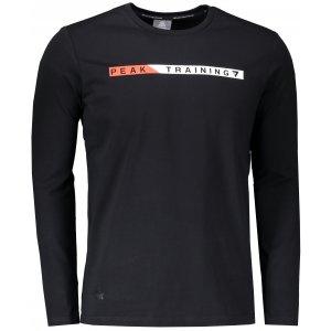 Pánské triko s dlouhým rukávem PEAK ROUND NECK LONG T SHIRT FW683145 ČERNÁ