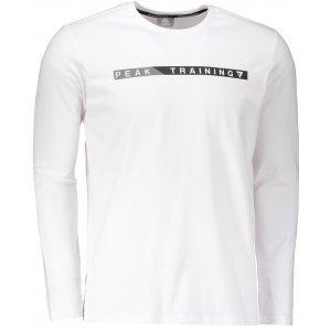 Pánské triko s dlouhým rukávem PEAK ROUND NECK LONG T SHIRT FW683145 BÍLÁ