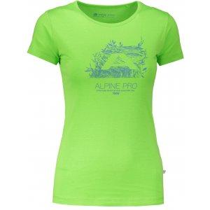 Dámské tričko s krátkým rukávem ALPINE PRO UNEGA 5 LTSN421 TMAVĚ ZELENÁ