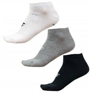 Dámské ponožky 4F NOSD4-SOD302 COLD LIGHT GREY MELANGE/WHITE/DEEP BLACK