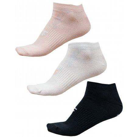 Dámské ponožky 4F NOSD4-SOD302 LIGHT PINK/WHITE/DEEP BLACK