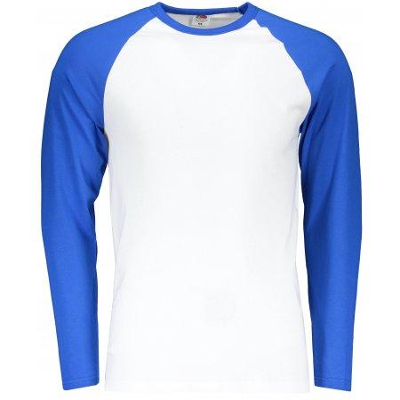Pánské triko FRUIT OF THE LOOM BASEBALL T WHITE/ROYAL BLUE