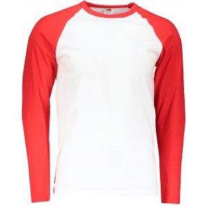 Pánské triko FRUIT OF THE LOOM BASEBALL T WHITE/RED