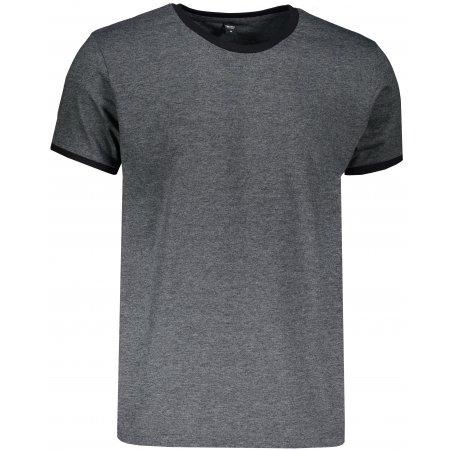 Pánské triko TEEJAYS RINGER TEE BLACK MELANGE/BLACK