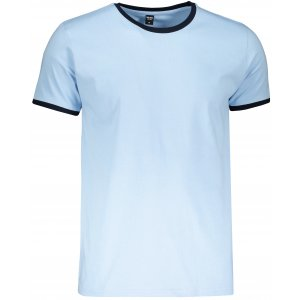 Pánské triko TEEJAYS RINGER TEE LIGHT BLUE/NAVY