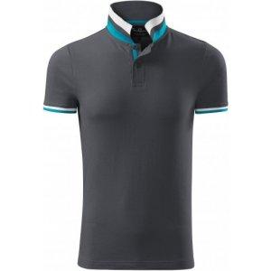 Pánské triko s límečkem MALFINI PREMIUM COLLAR UP 256 LIGHT ANTHRACITE