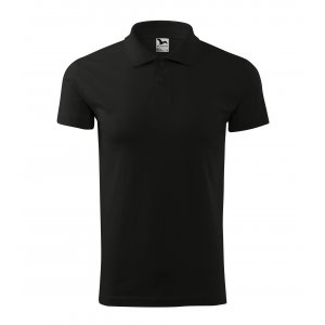 Pánské triko s límečkem MALFINI SINGLE J. 202 ČERNÁ