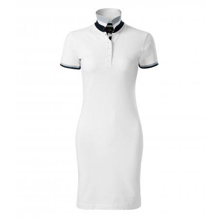 Dámské šaty s límečkem MALFINI PREMIUM DRESS UP 271 BÍLÁ