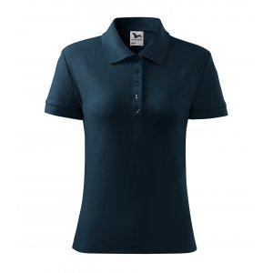 Dámské triko s límečkem MALFINI COTTON 213 NÁMOŘNÍ MODRÁ