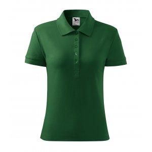 Dámské triko s límečkem MALFINI HEAVY 216 LAHVOVĚ ZELENÁ
