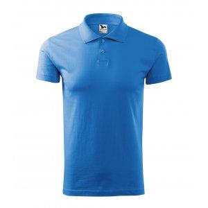 Pánské triko s límečkem MALFINI SINGLE J. 202 AZUROVĚ MODRÁ