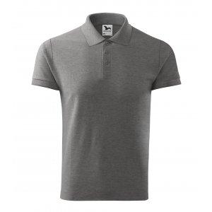 Pánské triko s límečkem MALFINI COTTON 212 TMAVĚ ŠEDÝ MELÍR