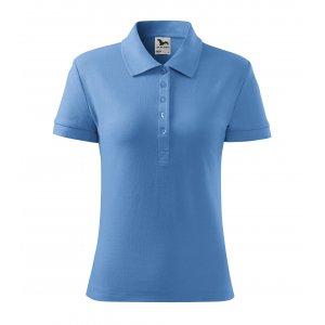 Dámské triko s límečkem MALFINI COTTON 213 NEBESKY MODRÁ