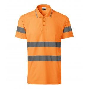 Pánské reflexní triko s límečkem RIMECK 2V9 HV RUNWAY FLUORESCENČNÍ ORANŽOVÁ