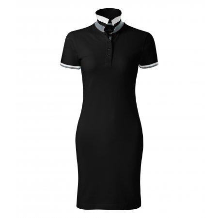 Dámské šaty s límečkem MALFINI PREMIUM DRESS UP 271 ČERNÁ