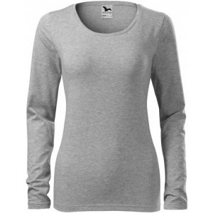 Dámské triko s dlouhým rukávem MALFINI SLIM 139 TMAVĚ ŠEDÝ MELÍR