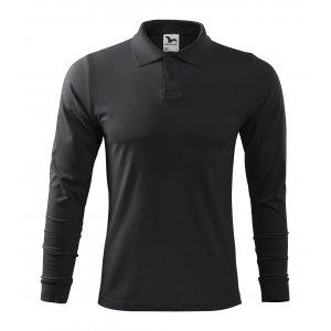 Pánské triko s dlouhým rukávem a límečkem MALFINI SINGLE J. LS 211 EBONY GRAY