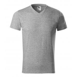 Pánské triko MALFINI HEAVY V-NECK 111 TMAVĚ ŠEDÝ MELÍR