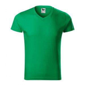 Pánské triko MALFINI SLIM FIT V-NECK 146 STŘEDNĚ ZELENÁ