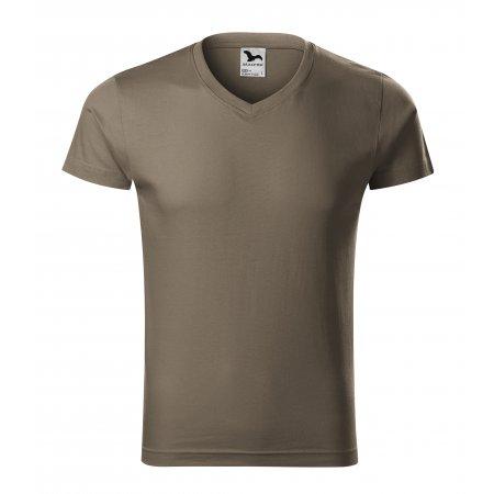Pánské triko MALFINI SLIM FIT V-NECK 146 ARMY