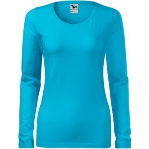 Dámské triko s dlouhým rukávem MALFINI SLIM 139 TYRKYSOVÁ