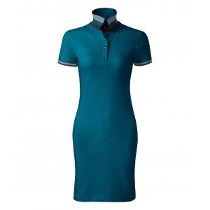 Dámské šaty s límečkem MALFINI PREMIUM DRESS UP 271 PETROLEJOVÁ