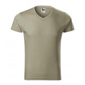 Pánské triko MALFINI SLIM FIT V-NECK 146 SVĚTLÁ KHAKI