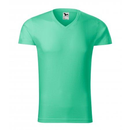 Pánské triko MALFINI SLIM FIT V-NECK 146 MÁTOVÁ