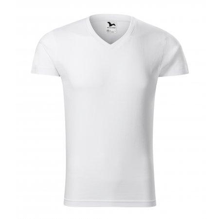 Pánské triko MALFINI SLIM FIT V-NECK 146 BÍLÁ