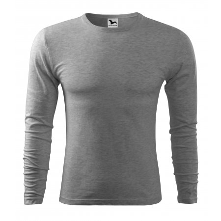 Pánské triko s dlouhým rukávem MALFINI FIT-T LS 119 TMAVĚ ŠEDÝ MELÍR