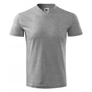Pánské triko MALFINI V-NECK 102 TMAVĚ ŠEDÝ MELÍR