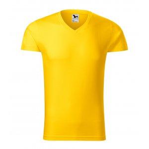Pánské triko MALFINI SLIM FIT V-NECK 146 ŽLUTÁ
