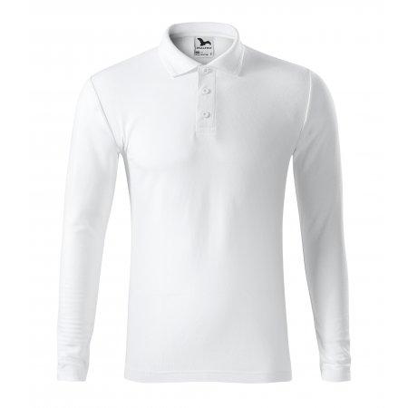 Pánské triko s dlouhým rukávem a límečkem MALFINI PIQUE POLO LS 221 BÍLÁ
