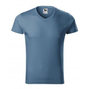Pánské triko MALFINI SLIM FIT V-NECK 146 DENIM