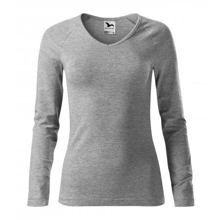 Dámské triko s dlouhým rukávem MALFINI ELEGANCE 127 TMAVĚ ŠEDÝ MELÍR