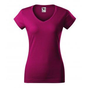 Dámské triko MALFINI FIT V-NECK 162 FUCHSIA RED