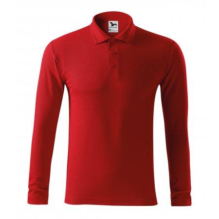 Pánské triko s dlouhým rukávem a límečkem MALFINI PIQUE POLO LS 221 ČERVENÁ