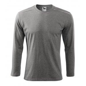 Pánské triko s dlouhým rukávem MALFINI LONG SLEEVE 112 TMAVĚ ŠEDÝ MELÍR