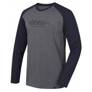 Pánské triko s dlouhým rukávem HANNAH BANTAM STEEL GRAY MEL/BLACK IRIS