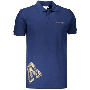 Pánské triko s límečkem ALTISPORT ALM013203 PŮLNOČNÍ MODRÁ/ZLATÁ