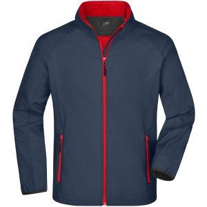 Pánská softshellová bunda JAMES NICHOLSON JN1130 IRON GREY/RED