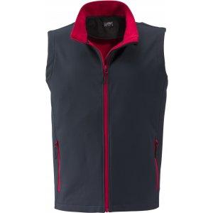 Pánská softshellová vesta JAMES NICHOLSON JN1128 IRON GREY/RED