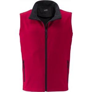 Pánská softshellová vesta JAMES NICHOLSON JN1128 RED/BLACK