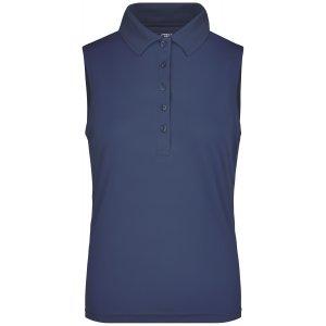 Dámské triko s límečkem bez rukávů funkční premium JAMES NICHOLSON JN575 NAVY