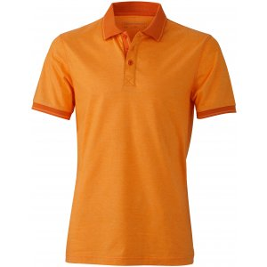 Pánské triko s límečkem melange JAMES NICHOLSON JN706 ORANGE MELANGE/DARK ORANGE