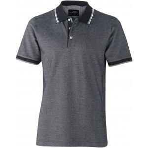 Pánské triko s límečkem trendy JAMES NICHOLSON JN704 BLACK/WHITE