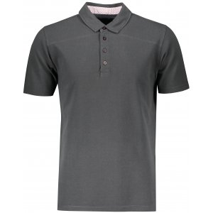 Pánské triko s límečkem fashion JAMES NICHOLSON JN712 GRAPHITE/WHITE RED