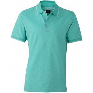 Pánské triko s límečkem trendy JAMES NICHOLSON JN704 CARIBBEAN GREEN/WHITE