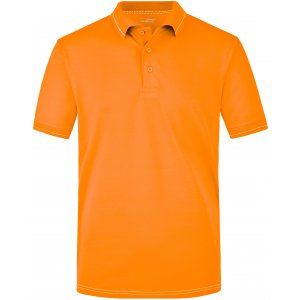 Pánské triko s límečkem premium JAMES NICHOLSON JN569 ORANGE/WHITE