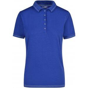 Dámské triko s límečkem premium JAMES NICHOLSON JN568 ROYAL/WHITE